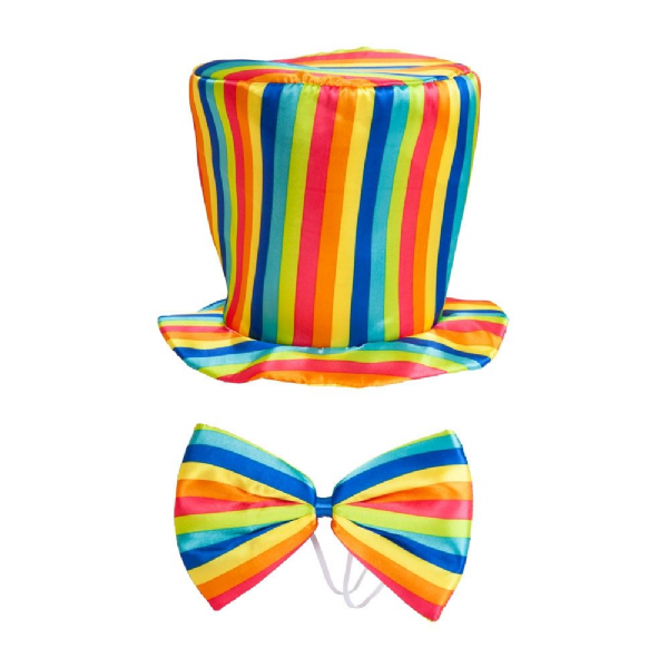 Rainbow Top Hat & Bow TIE